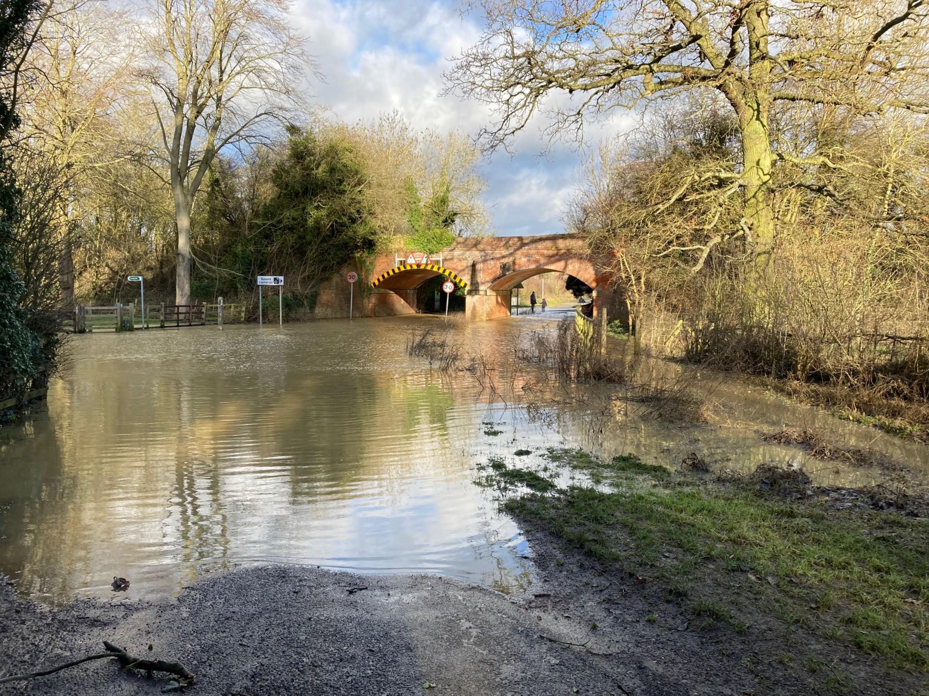 Flood at Lubenham Rail Bridge - Jan 2021