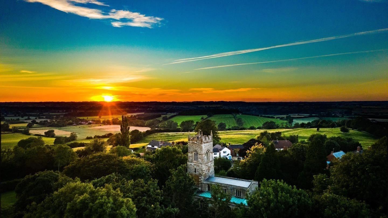 Aerial Church Photo at Sunset - 2020