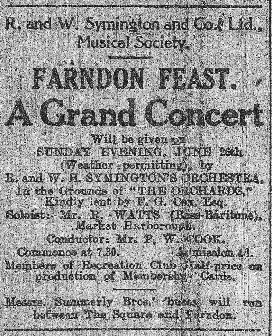 1927 - Farndon Feast Advert