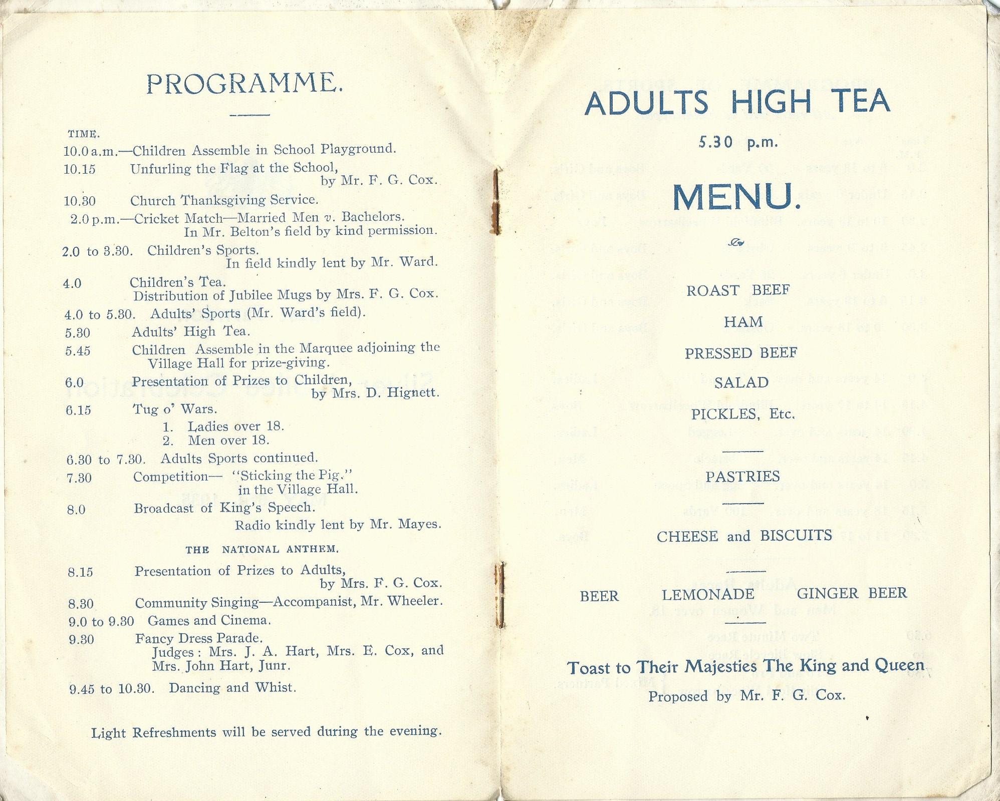 1935 - Jubilee Programme