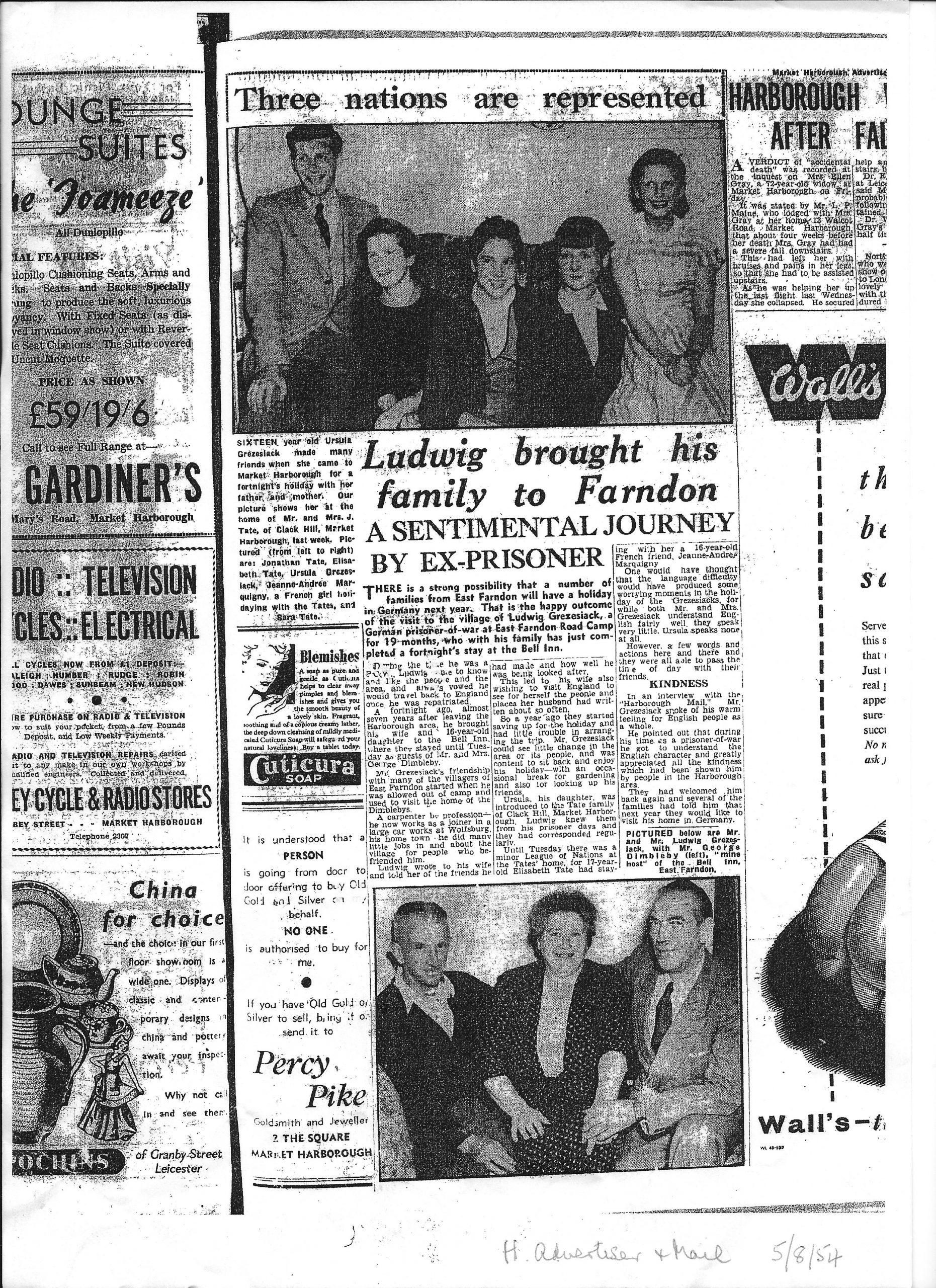 German POW Returns to East Farndon - 1954