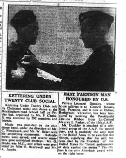 Leonard Dunkley of East Farndon - US WW2 Medal - 1944