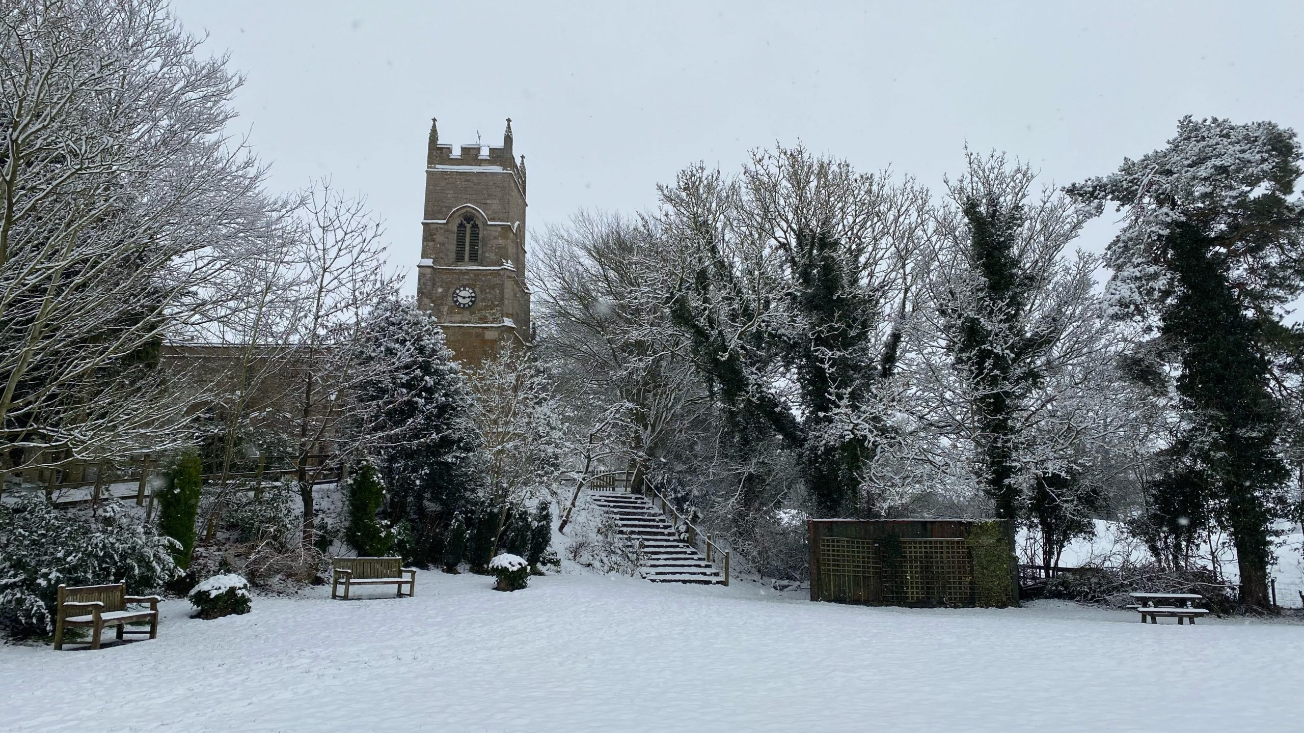 Marriott Green & Church in the Snow