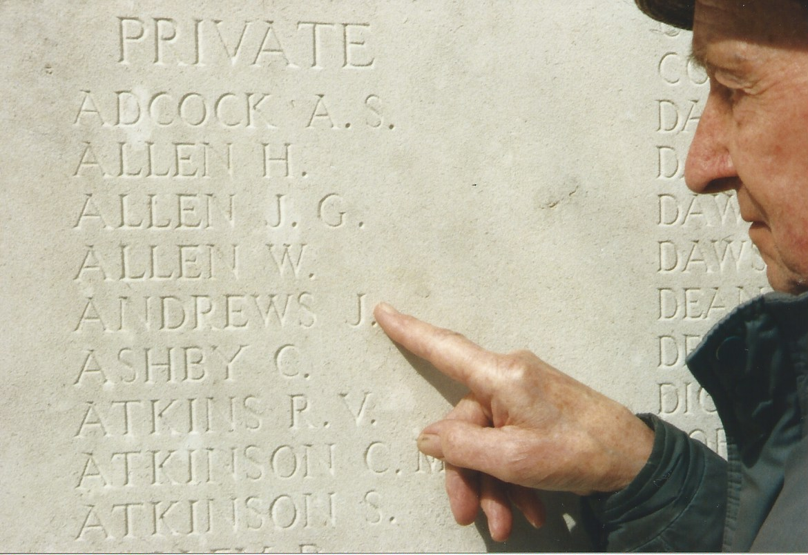 Ted Andrews (son of James) at Thiepval - WW1